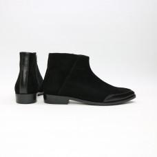 Ботинки из велюра и кожи черного цвета с острым носиком Арт. 104-2