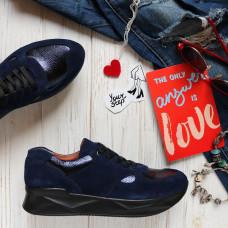 Кроссовки из ярко-синей замши с синими  вставками Арт. 15-2 ДОП*