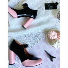 Туфли в сочетании черной и пудровой кожи Арт. 95-2Ok-Os