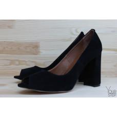 Туфли из замши черного цвета Арт. 95-4/44ОК