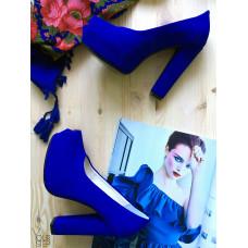 Туфли на высоком каблуке из ярко-синей замши Арт. 95-8Ok-Os