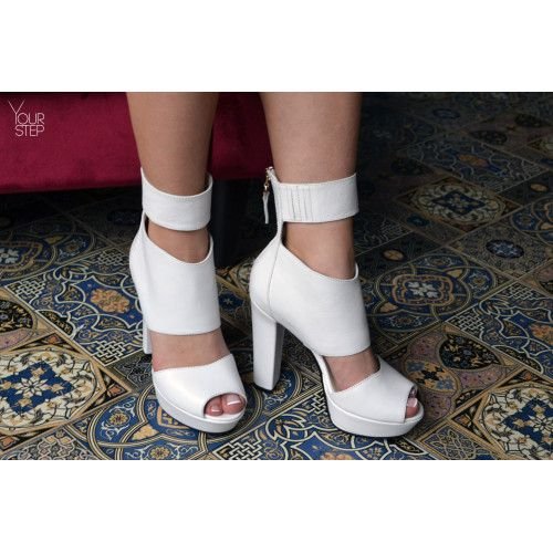 Босоножки из белой кожи на высоком каблуке Арт.: 951-4Ок