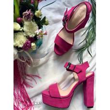Босоножки на высоком каблуке цвета фуксии Арт.: 853-2Ок