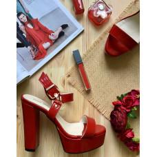 Босоножки на высоком каблуке из красной лаковой кожи Арт.: 853-1Ок