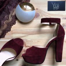 Босоножки на высоком каблуке из замши бордового цвета Арт.: 951-6Ок