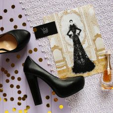 Туфли на высоком каблуке из черной кожи Арт. 95-7Ok-Os