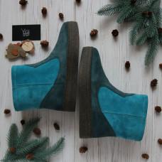 Ботинки из натуральной замши голубого цвета и цвета ель Арт. 12-19Ls