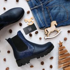 Ботинки Челси из синей кожи с принтовыми вставками под питон на тракторной подошве Арт. 12-1(S2)