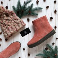 Ботинки из замши цвета персик Арт. 12-19Ls