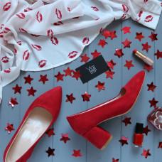 Туфли из красной замши на обтяжном каблуке с острым носиком Арт. 657-1/47Ok