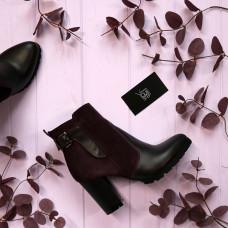 Ботинки на устойчивом каблуке цвета баклажан Арт. 805-1