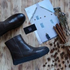 Ботинки из кожи цвета шоколад с эффектом потертости Арт. 12-19/21613