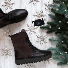 Ботинки из кожи и замши цвета какао 12-6(Ls6)