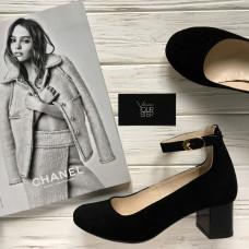 Туфли из черной замши на низком каблуке Арт. 50-6