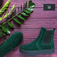 Ботинки из зеленой замши Арт. 12-1Ls