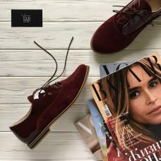 Туфли на низком ходу бордового цвета Арт. 05-6