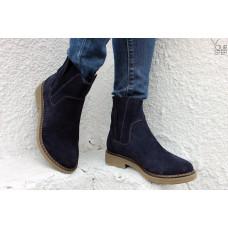 Ботинки из синей замши со скрытыми резинками Арт. 12-28(Sn4)