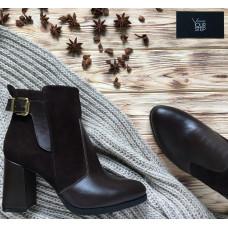 Ботинки на устойчивом каблуке шоколадного цвета Арт. 805-1Ок