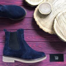 Ботинки челси из натуральной замши синего цвета 12-1(Sn4)
