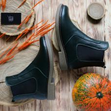 Ботинки челси из натуральной кожи зеленого цвета 12-1(Sn4)