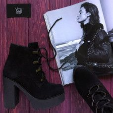 Ботинки из черной замши Арт. 18-10Al4-0010