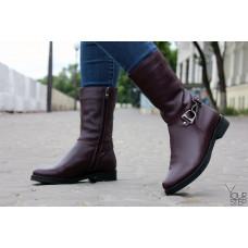 Ботинки из бордовой кожи с декоративным ремешком Арт. 12-22V