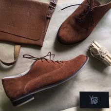 Туфли на низком ходу из рыжей замши Арт. 05-6