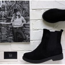 Ботинки челси из натуральной замши черного цвета 12-1(Sn4)