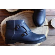 Ботинки из синей кожи с пряжкой Арт. 12-26V