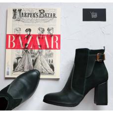 Ботинки на устойчивом каблуке зеленого цвета Арт. 805-1Ок