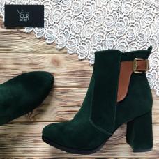Ботинки на устойчивом каблуке из зеленой замши Арт. 805-1Ок