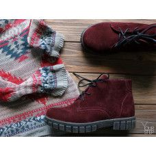 Ботинки на шнуровке из бордовой замши Арт.К-2