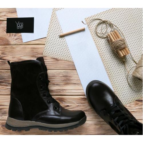 Подростковые ботинки на шнуровке шоколадного цвета Арт. К12-6