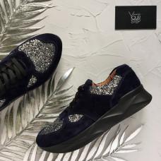 Кроссовки из синей замши с блестящими вставками Арт. 15-2
