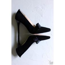 Туфли на шпильке из черной замши с лаковой вставкой Арт. 35-8Os