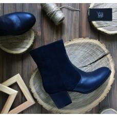 Ботинки синего цвета на обтяжном каблуке Арт. 605-1Ок