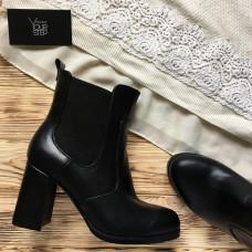 Челси на устойчивом каблуке из черной кожи Арт. 805-2Ок