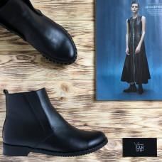 Ботинки со скрытыми резинками из черной кожи Арт. 12-23(Dn4)-3636