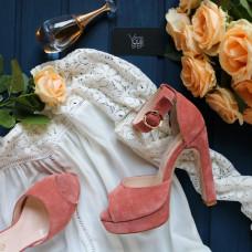 Босоножки на высоком каблуке из замши цвета персик Арт.: 951-6Kr