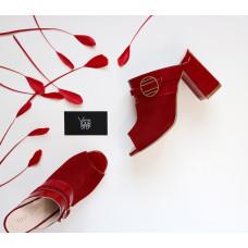 Мюли из красного велюра с лаковой пряжкой Арт. 853-4/48Ok
