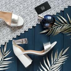 Босоножки из белой кожи с серебряными вставками с обтяжным каблуком Арт. 853-3/48Ок