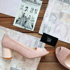 Туфли из замши цвета персик на низком каблуке Арт. 605-3/45