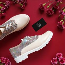 Туфли из бежевой кожи с цветочным принтом Арт. 05-6/129