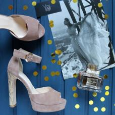 Босоножки на высоком каблуке из велюра цвета капучино с принтовым каблуком Арт.: 951-6Kr