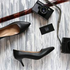 Туфли из черной кожи на шпильке с острым носиком Арт. 657-1/36