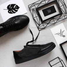 Кеды из черной кожи с серыми замшевыми вставками Арт. Om-2(Em)