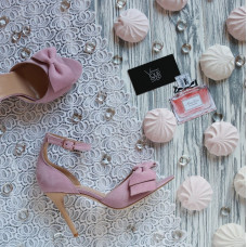 Босоножки из розового велюра с бантом Арт. 95-11(2)-Бант