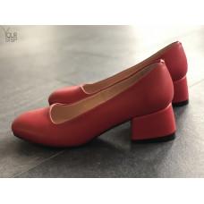 Туфли из красной кожи на низком каблуке Арт. 456-1/53Ок