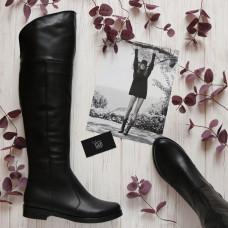 Сапоги-ботфорты из черной кожи 12-31V