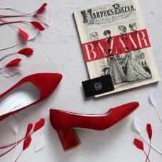 Туфли из красной замши на обтяжном принтовом каблуке с острым носиком Арт. 657-1/47Ok